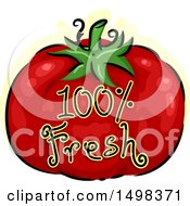 Clipart Of A Tomato With Fresh Text Royalty Free Vector Illustration by BNP Design Studio
