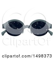 Clipart Of A Pair Of Glasses With Outer Space On The Lenses Royalty Free Vector Illustration