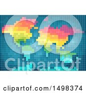 Clipart Of A Colorful Pixelated World Map Royalty Free Vector Illustration