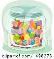 Clipart Of A Glass Jar Full Of Candy Royalty Free Vector Illustration