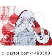 Christmas Santa Claus Waving Over Baubles