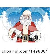 Christmas Santa Over Snow Flocked Trees