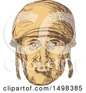 Clipart Of A Sketched World War Two American Soldier Face Royalty Free Vector Illustration