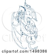 Poster, Art Print Of Sketched Man St George Slaying A Dragon