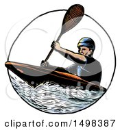 Man Paddling A Kayak In Sketch Style On A White Background