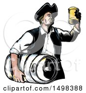 Clipart Of A Vintage American Patriot Holding Up A Beer Mug And Carrying A Keg In Sketch Style On A White Background Royalty Free Illustration