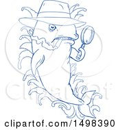 Clipart Of A Blue Sketched Detective Orca Killer Whale Holding A Magnifying Glass Royalty Free Vector Illustration