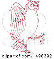 Clipart Of A Sketched Red Great Horned Owl Marching Royalty Free Vector Illustration by patrimonio