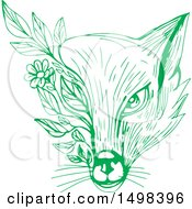 Poster, Art Print Of Green Sketched Fox Face Wih Leaves