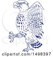 Clipart Of A Sketched Sharp Shinned Hawk Royalty Free Vector Illustration by patrimonio
