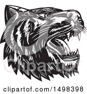 Woodcut Roaring Tiger Mascot Head In Black And White
