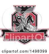 Clipart Of A Dragon Slayer Knight St George With A Spear In A Shield With A Banner And Crown Royalty Free Vector Illustration by patrimonio