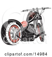 Black Motorcycle With Spider Web Accents Clipart Illustration