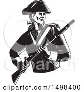 Clipart Of A Soldier American Patriot Holding A Musket Rifle Royalty Free Vector Illustration
