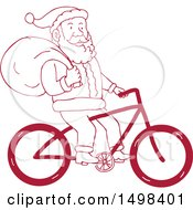Clipart Of A Cartoon Santa Claus Riding A Bicycle With A Christmas Sack Royalty Free Vector Illustration by patrimonio