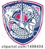 Clipart Of A Dragon Battling And Coiling Around St George With A Sword In A Shield Royalty Free Vector Illustration by patrimonio
