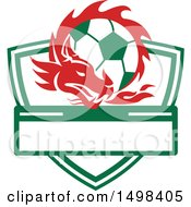 Clipart Of A Red Welsh Dragon Around A Soccer Ball Over A Shield Royalty Free Vector Illustration by patrimonio