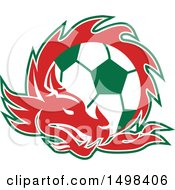 Clipart Of A Red Welsh Dragon Around A Green And White Soccer Ball Royalty Free Vector Illustration by patrimonio