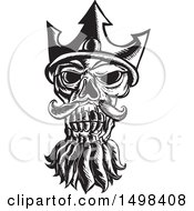 Clipart Of A Skull Of Neptune In Black And White Royalty Free Vector Illustration