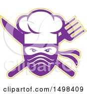 Clipart Of A Ninja Chef Face Over A Crossed Knife And Fork Royalty Free Vector Illustration by patrimonio
