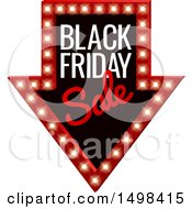 Clipart Of A Illuminated Marquee Arrow Sign With Black Friday Sale Text Royalty Free Vector Illustration by AtStockIllustration