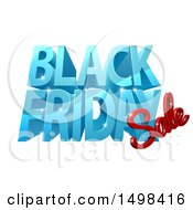Clipart Of A 3d Black Friday Sale Design In Blue And Red Royalty Free Vector Illustration