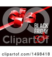 Clipart Of A Black Friday Sale Text Design With A Gift Bow On Black Royalty Free Vector Illustration