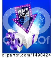 Clipart Of An Arrow Shaped Marquee Black Friday Sale Sign Over A Christmas Gift Box Royalty Free Vector Illustration by AtStockIllustration