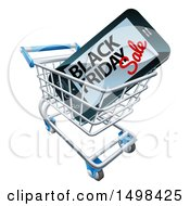 Clipart Of A Black Friday Sale Advertisement On A Smart Phone Screen In A Shopping Cart Royalty Free Vector Illustration by AtStockIllustration
