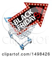 Clipart Of A Black Friday Sale Arrow Marquee Sign In A Shopping Cart Royalty Free Vector Illustration by AtStockIllustration