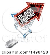 Clipart Of A Black Friday Sale Arrow Marquee Sign In A Shopping Cart With A Computer Mouse Royalty Free Vector Illustration by AtStockIllustration