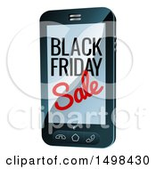 Clipart Of A Black Friday Sale Advertisement On A Smart Phone Screen Royalty Free Vector Illustration by AtStockIllustration