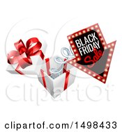 Clipart Of A Black Friday Sale Arrow Marquee Sign Springing Out Of A Gift Box Royalty Free Vector Illustration by AtStockIllustration