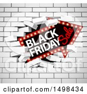 Clipart Of A Black Friday Sale Arrow Marquee Sign Breaking Through A White Brick Wall Royalty Free Vector Illustration by AtStockIllustration