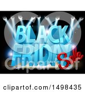 Clipart Of A 3d Black Friday Sale Text Design On A Lit Up Stage Royalty Free Vector Illustration by AtStockIllustration