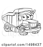 Clipart Of A Cartoon Lineart Dump Truck Mascot Character Royalty Free Vector Illustration by AtStockIllustration