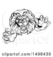 Clipart Of A Black And White Tough Clawed Male Lion Monster Mascot Holding A Soccer Ball Royalty Free Vector Illustration