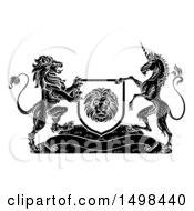 Clipart Of A Rampant Lion And Unicorn Flanking A Shield Over A Banner Black And White Woodcut Royalty Free Vector Illustration by AtStockIllustration