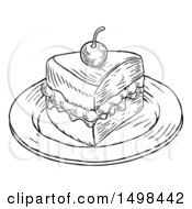 Piece Of Victoria Sponge Cake In Black And White Engraved Style