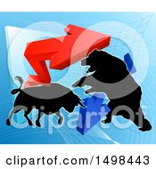 Clipart Of A Silhouetted Bear Vs Bull Stock Market Design With Arrows Over A Graph Royalty Free Vector Illustration