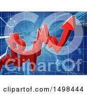 Clipart Of A 3d Red Bitcoin Crypto Currency On A Chart Royalty Free Vector Illustration by AtStockIllustration