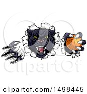 Clipart Of A Black Panther Mascot Shredding Through A Wall With A Basketball Royalty Free Vector Illustration