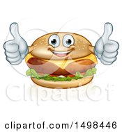 Clipart Of A Happy Cheese Burger Mascot Holding Two Thumbs Up Royalty Free Vector Illustration