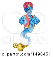 Clipart Of A Blue Genie Pointing Outwards Over His Lamp Royalty Free Vector Illustration by AtStockIllustration