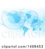 Clipart Of A Blue World Map With Grid Lines Royalty Free Vector Illustration by AtStockIllustration