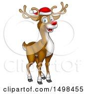 Happy Red Nosed Reindeer Wearing A Christmas Santa Hat