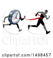 Clipart Of A Silhouetted Man Running Through A Finish Line Before A Clock Character Royalty Free Vector Illustration