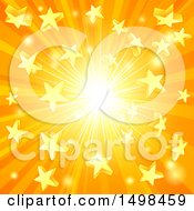 Clipart Of A Star Burst Sunset Background Royalty Free Vector Illustration by AtStockIllustration