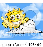 Happy Sun Mascot Giving A Thumb Up Over A Cloud