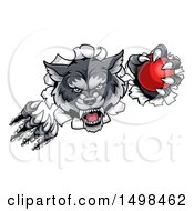 Clipart Of A Gray Wolf Slashing Through A Wall With A Cricket Ball Royalty Free Vector Illustration